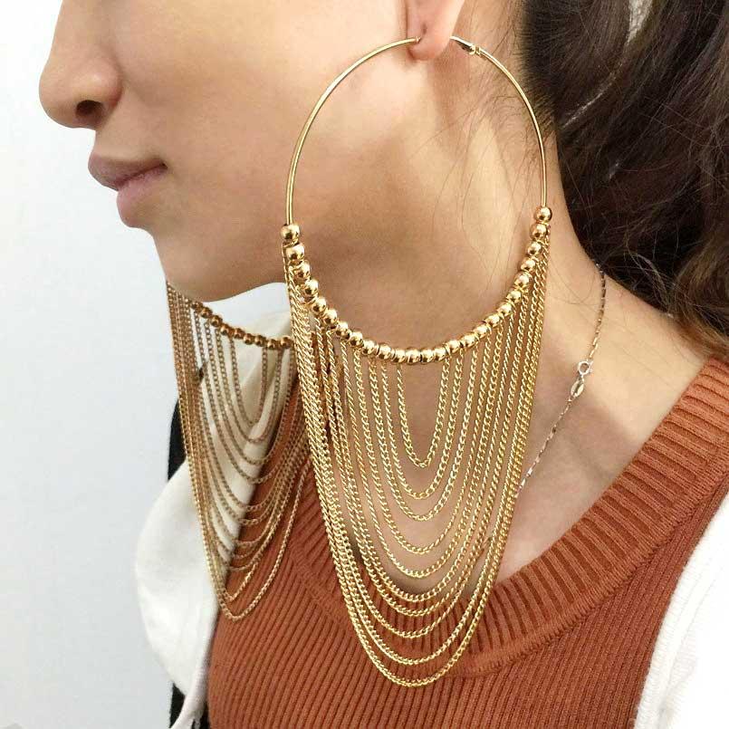 Circular Metal Long Chains Earrings